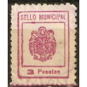 Sello Municipal 3 pesetas rojo.